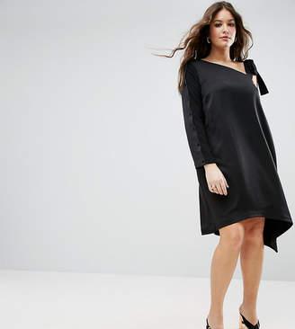 Asos One Shoulder Tie Detail Asymmetric Hem Dress