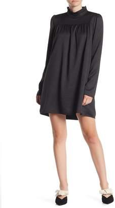 Line & Dot Ilean Satin Ruffle Mock Neck Shift Dress