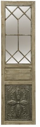 Generic Large Leaner/Hanging Mirror - Natural Wood Finish with Galvanized Metal Inlay