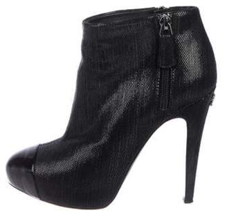 Chanel CC Textured Suede Cap-Toe Boots Black CC Textured Suede Cap-Toe Boots