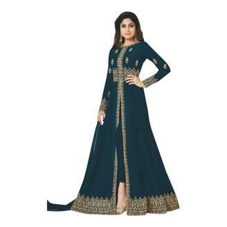 SHRI BALAJI SILK & COTTON SAREE EMPORIUM Cobalt Split Cut Anarkali Pant Style Salwar Kameez Long Suit With Net Dupatta 7415