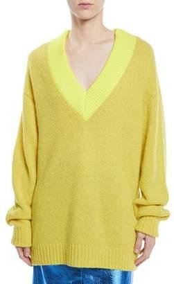 Tibi Airy Alpaca Pullover Sweater w/ Contrast Rib