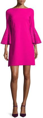 Chiara Boni La Petite Robe Bell-Sleeve Ponte A-Line Dress $695 thestylecure.com