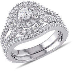 Concerto 14K White Gold Double 1.25 TCW Halo Bridal Set