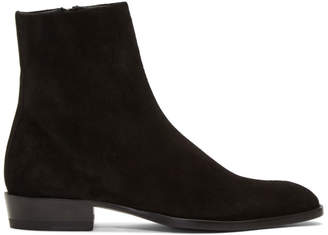Saint Laurent Black Suede Wyatt Boots