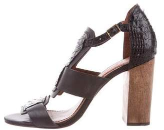 Elizabeth and James Embossed Ankle-Strap Sandals