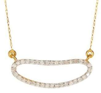 14K Gold Rose-Cut White Diamond Pendent Necklace with Chain