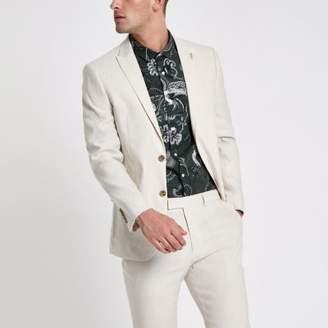 River Island Mens Cream linen blend slim fit suit jacket