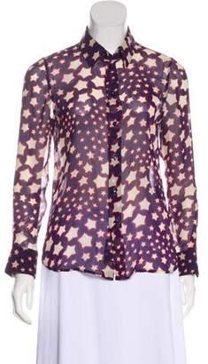 Saint Laurent Star Print Silk Blouse