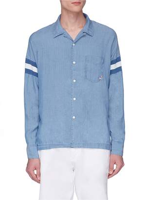 Remi Relief Graphic embroidered stripe sleeve chambray shirt