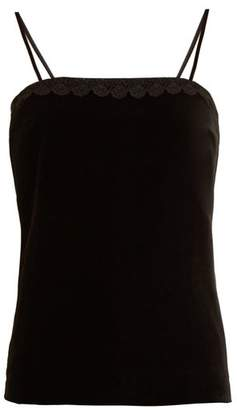 Racil - Fife Macramé Lace Trimmed Velvet Top - Womens - Black