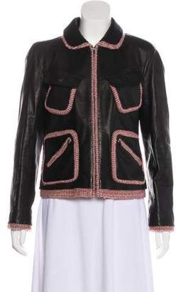 Chanel Wool-Trimmed Leather Jacket