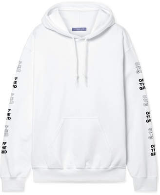 Paradised - Printed Cotton-blend Fleece Hoodie - White