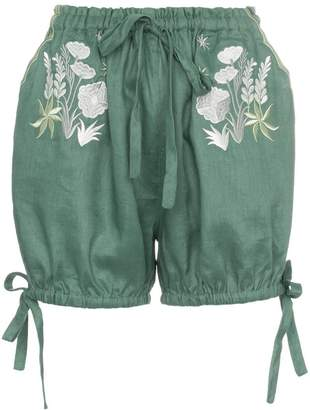 Innika Choo Bloomers floral embroidered linen shorts
