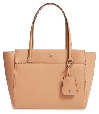 Tory Burch Small Parker Leather Tote - Beige $265 thestylecure.com