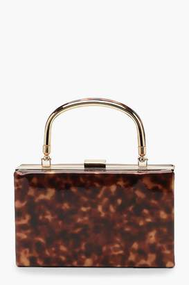 boohoo Resin Effect Box Clutch Bag With Handle