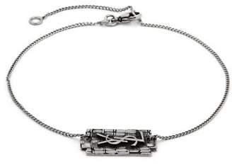 Saint Laurent Razor Blade Logo Charm Bracelet - Mens - Silver
