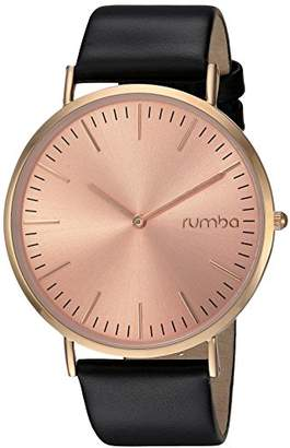 RumbaTime Women's 'SoHo Leather Lights Out' Quartz Metal and Leather Casual Watch