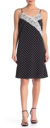 ONE ONE SIX Lace Trim Polka Dot Slip Dress