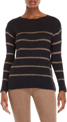 Made In Italy Metallic Stripe Knit Sweater