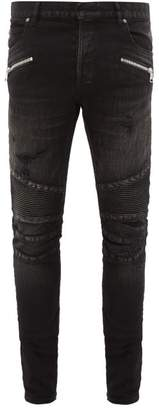 Balmain Tapered Ribbed Inset Biker Jeans - Mens - Black