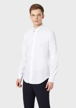 Giorgio Armani Classic Collar Stretch Cotton Blend Shirt
