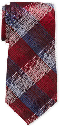 Perry Ellis Portfolio Red Goodwin Plaid Silk Tie