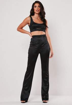 94fc23c46953 Missguided Black Stretch Satin Top And Trousers Co Ord Set, Black