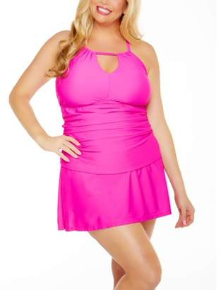 Time and Tru Women's Plus-Size Shirred Halter Tankini Swimsuit Top