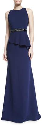 Carmen Marc Valvo Sleeveless Crepe Peplum Gown, Midnight $1,075 thestylecure.com