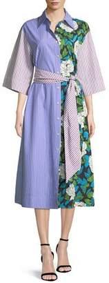 Diane von Furstenberg Multipattern 3/4-Sleeve Belted Shirtdress