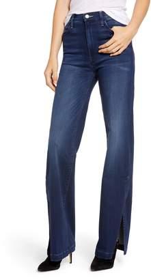 Mother The Hustler Sidewinder High Waist Slit Hem Bootcut Jeans