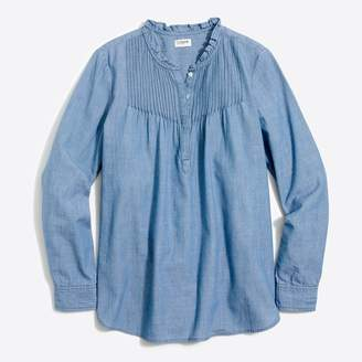 J.Crew Factory Chambray pintuck popover