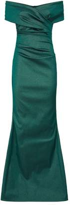 Talbot Runhof Off-The-Shoulder Ruched Gown