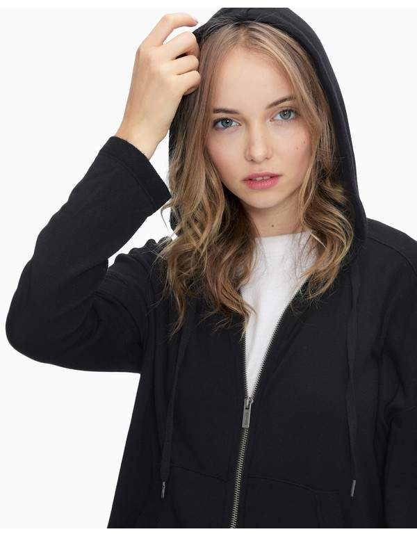 | Super Soft Brushed French Terry Zip Hoodie | Size L | Black
