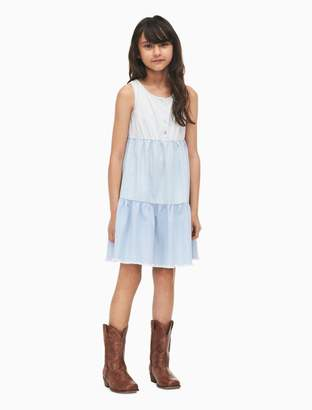 Calvin Klein girls button-front tiered dress