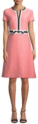 Escada Short-Sleeve Fit-and-Flare Tweed Dress w/ Grosgrain Bow