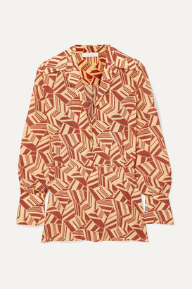 Chloé Printed Silk Crepe De Chine Blouse - Brown