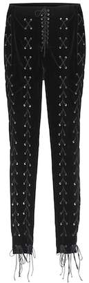 Unravel Lace-up velvet trousers