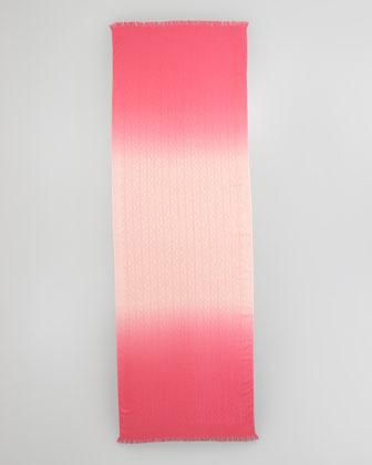 Tory Burch Dip-Dye Allover Logo-Print Scarf, Pink Shell