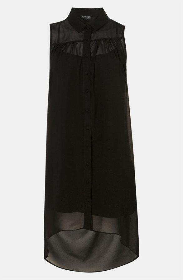Topshop Open Drape Back Shirtdress