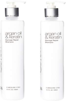 Caroline Chu Twin Pack Argan Oil & Keratin Damage Repair Shampoo (16.9 OZ)