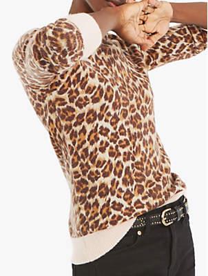 Oasis Kitty Leopard Jumper, Brown