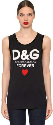 Dolce & Gabbana Printed Cotton Jersey Sleeveless T-Shirt