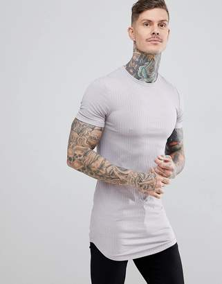 BEIGE ASOS DESIGN longline muscle fit t-shirt in rib with curve hem in