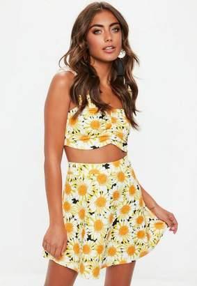 Missguided Petite Yellow Sunflower Skater Skirt