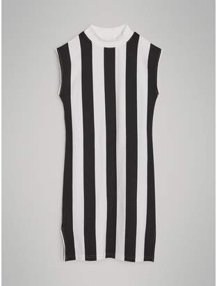 Burberry Striped Cotton Turtleneck Dress , Size: 8Y, Black
