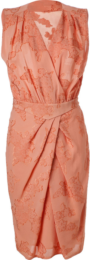 Viktor & Rolf Pale Coral Foral Embroidery Dress