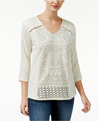 Style & Co Embroidered V-Neck Top, Only at Macy's $44.50 thestylecure.com
