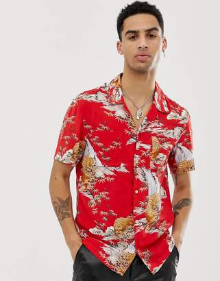 AllSaints revere collar shirt with tiger print in red